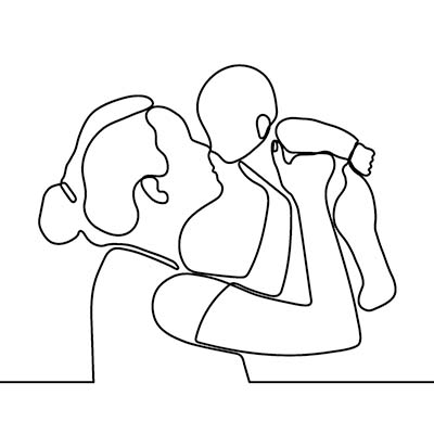 mom and baby line art for diaper care